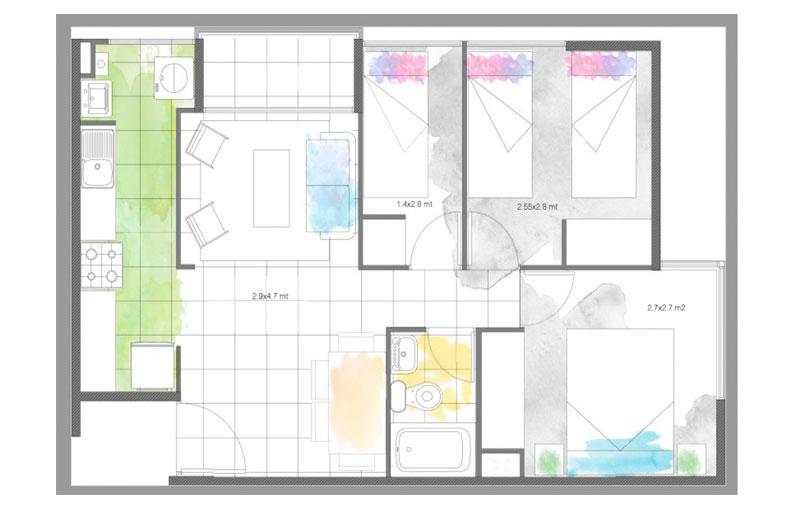 condominio-santa-maría-modelo-46-cocina-cerrada