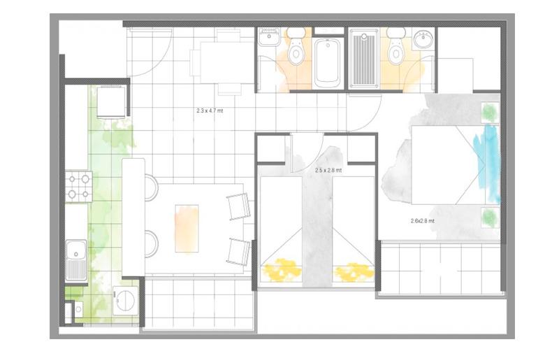 condominio-santa-maría-modelo-45-cocina-abierta