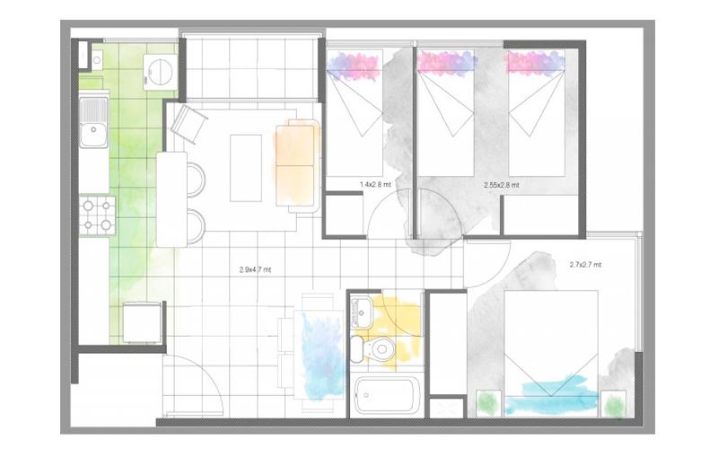 condominio-santa-maría-modelo-46-cocina-abierta